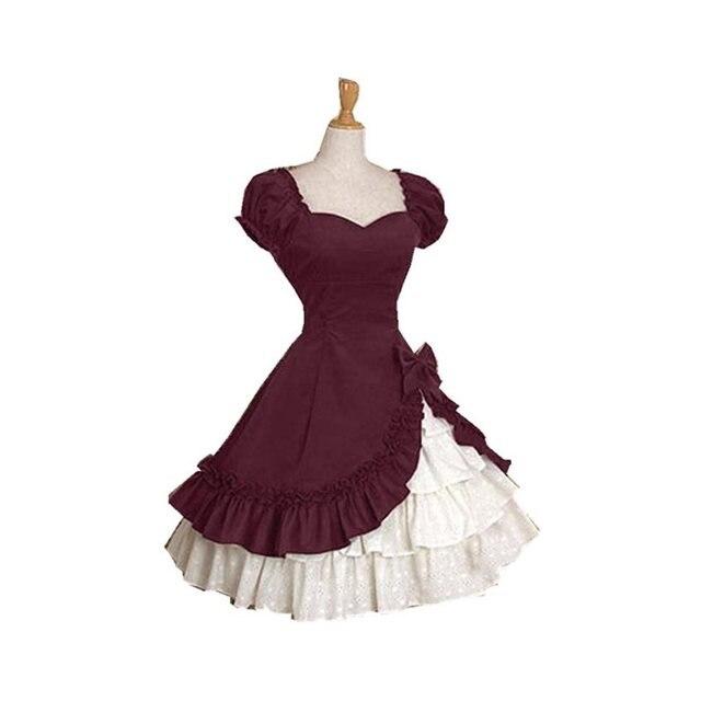 Elegante Princesa Vestidos de Balanço Do Vintage Arco Babados Góticas Mulheres Lolita Vestido de Festa Plissado Retro Goth Big Tamanho da Fêmea Do Verão