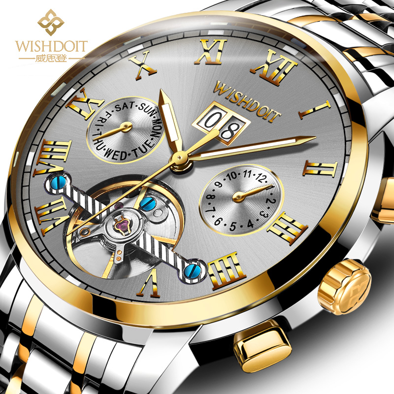WISHDOIT Business Mechanical Watches Mens Skeleton Tourbillon Automatic Watch Men Gold Steel Calendar Waterproof Relojes Hombre цена