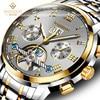 WISHDOIT Business Mechanical Watches Mens Skeleton Tourbillon Automatic Watch Men Gold Steel Calendar Waterproof Relojes Hombre