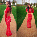 MZ-MSRHS Elegant Scoop Neckline Long Sleeves Mermaid Two Pieces Prom Dress 2016 Red Lace Evening Party Dress