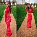Mz-msrhs elegante colher decote mangas compridas mermaid two pieces prom dress 2016 lace red evening party dress