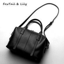 Лисохвост и Лили брендовая натуральная кожа Бостон сумка женская сумка Высокое качество сумка сумки женские сумки через плечо