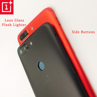 Original ONEPLUS 5T Metal Rear Housing Cover,Replacement Back Door Battery Case Side Button/Lens Glass/Sim Card Slot ,Black/Red