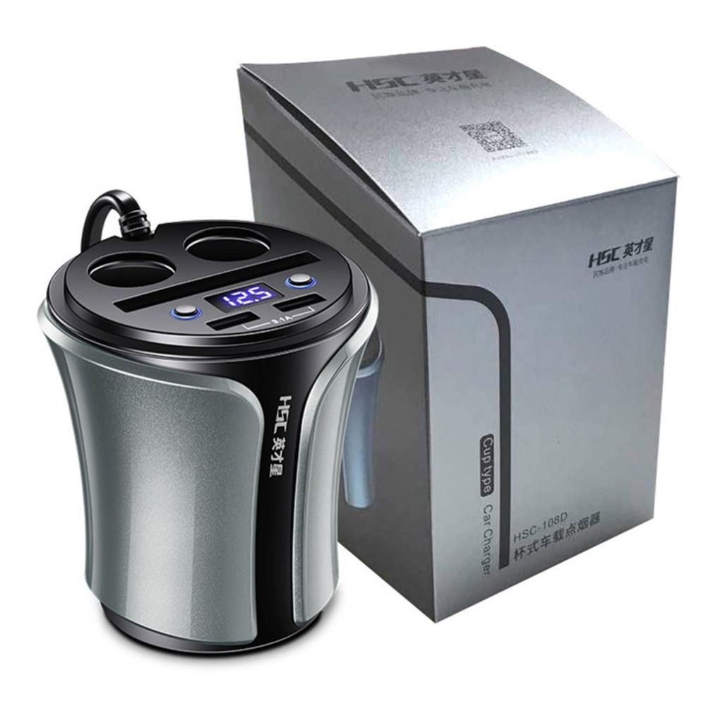 HSC 12-24V 100W+40W Car Cigarette Lighter Socket Splitter Hub Power Adapter 4 in 1 Dual USB Charger Volt Meter Drop Shipping