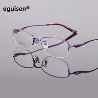 Width 135 New pure titanium ultra light business half frame women eyeglasses frames reading glass spectacle frame Female oculos