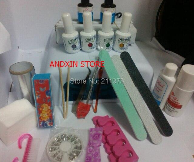 Nail Art Pro DIY Full Set Led Soak Off Uv Gel Polish Manicure File Topcoat Cleanser 36W Curing Lamp Kit Set 204 color Choose