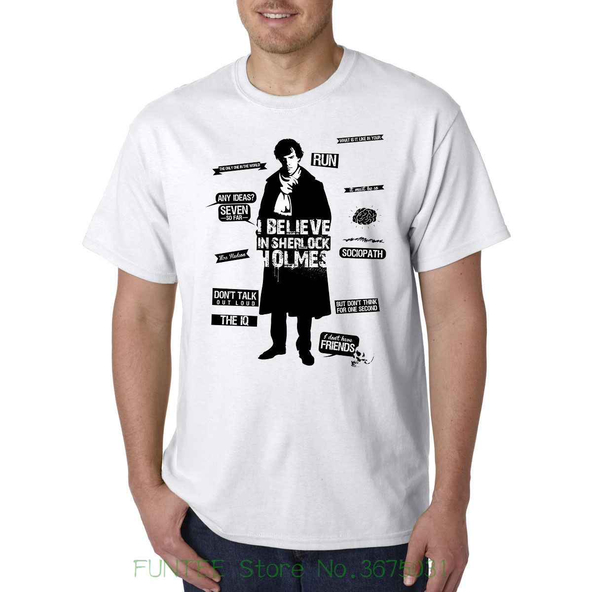 Novelty O-neck Tops Sherlock Holmes Detective Tv Show Nice Awesome T Shirt Best Birthday Gift image