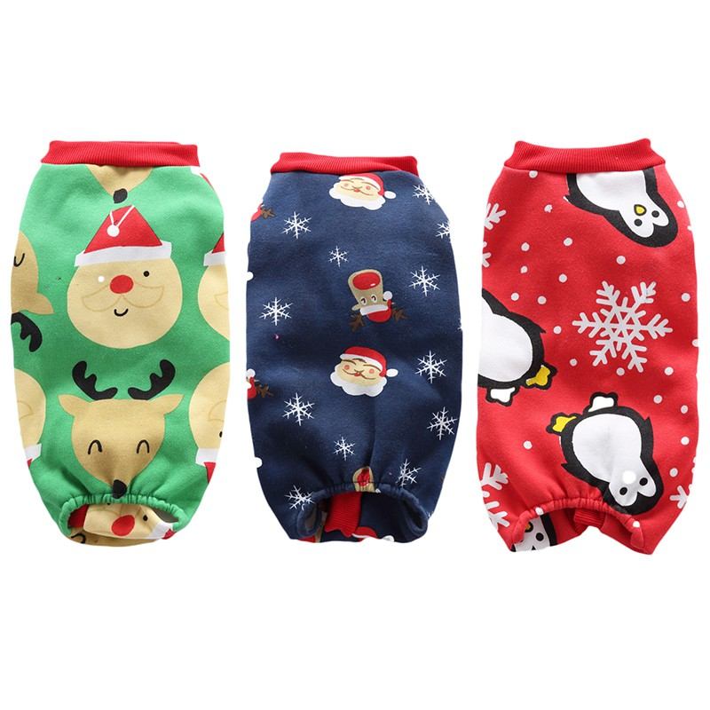 Cute Xmas Pet Clothes Penguin for Dog Pajamas Soft Christmas Santa Clause Snowman Pattern Clothes Warm For Puppy Pet Dogs