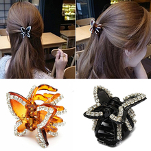 Hot Women s Butterfly Crystal Rhinestone Claw Hairpin Hair Clip Clamp Accessory 7FN6