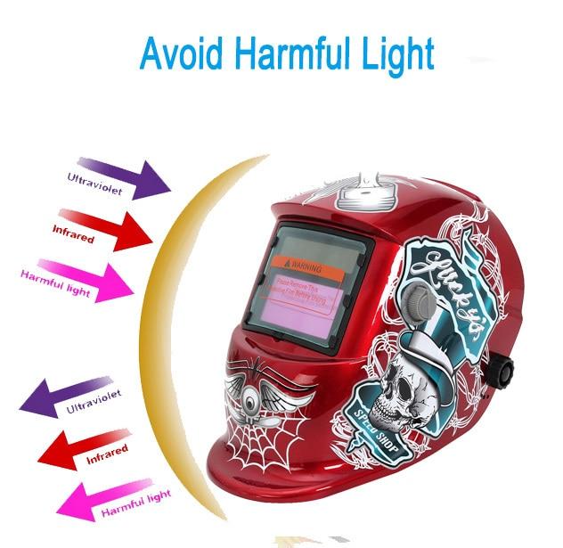 Red Solar Auto Darkening Welding Helmet ARC TIG MIG Weld For Welder Lens Grinding Mask Free Shipping