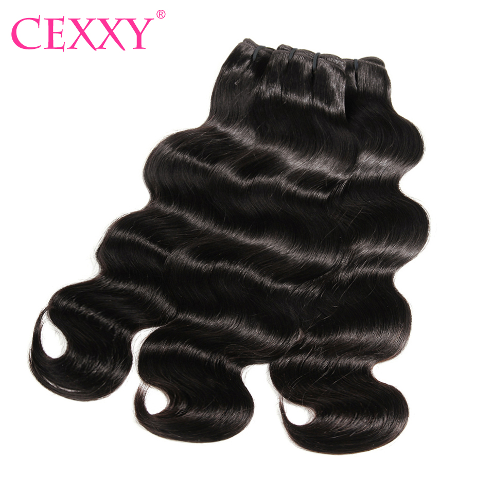 CEXXY Raw Indian Virgin Hair Body Wave Human Hair Weave Bundles Extension Natural Color 3PCS Free