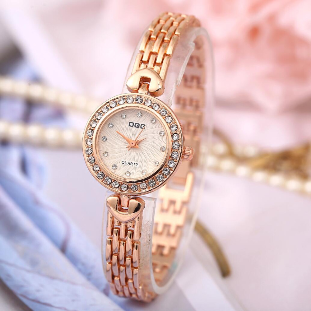New Luxury Brand DQG Crystal Rosy Gold Quartz Bracelets Watch Women Full Stainless Steel Watches Relogios Feminino Hot Sale Hour design for men full steel watch quartz fashion hot sale relojes male watches fashions luxury round dial famous brand relogios