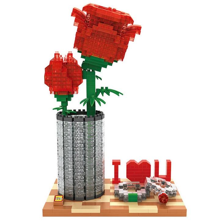 Upgraded Creators Mini Diamond Micro Building Block Red Rose Nanoblock Bricks Model Educational Toys For Children Gifts