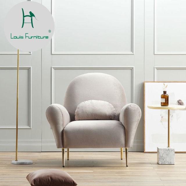 Louis Fashion Modern Minimalist Fabric Velvet Small Apartment Living Room Luxurious Style Furniture Nordic Single Sofa