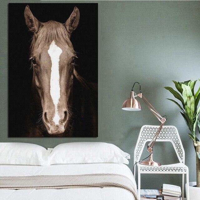 Tête de cheval sauvage affiches et imprimés | Noir et blanc, Art mural nordique, peintures en toile, tableau mural, pour le salon