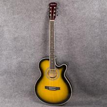 цена на Ultra-thin 40 Inch EQ Electric Acoustic Folk Guitar Sunset  Body Guitarra 6 String Guitar Cutaway Rosewood Practice Guitar