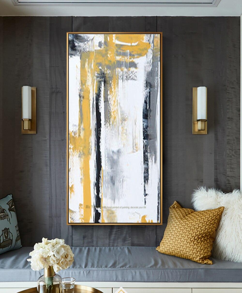 39 13 14 De Réduction Abstrait Moderne Peint à La Main Toile Décorative Mur Photo Cuadro Decorativo Salon Grande Peinture à L Huile Jaune Vertical