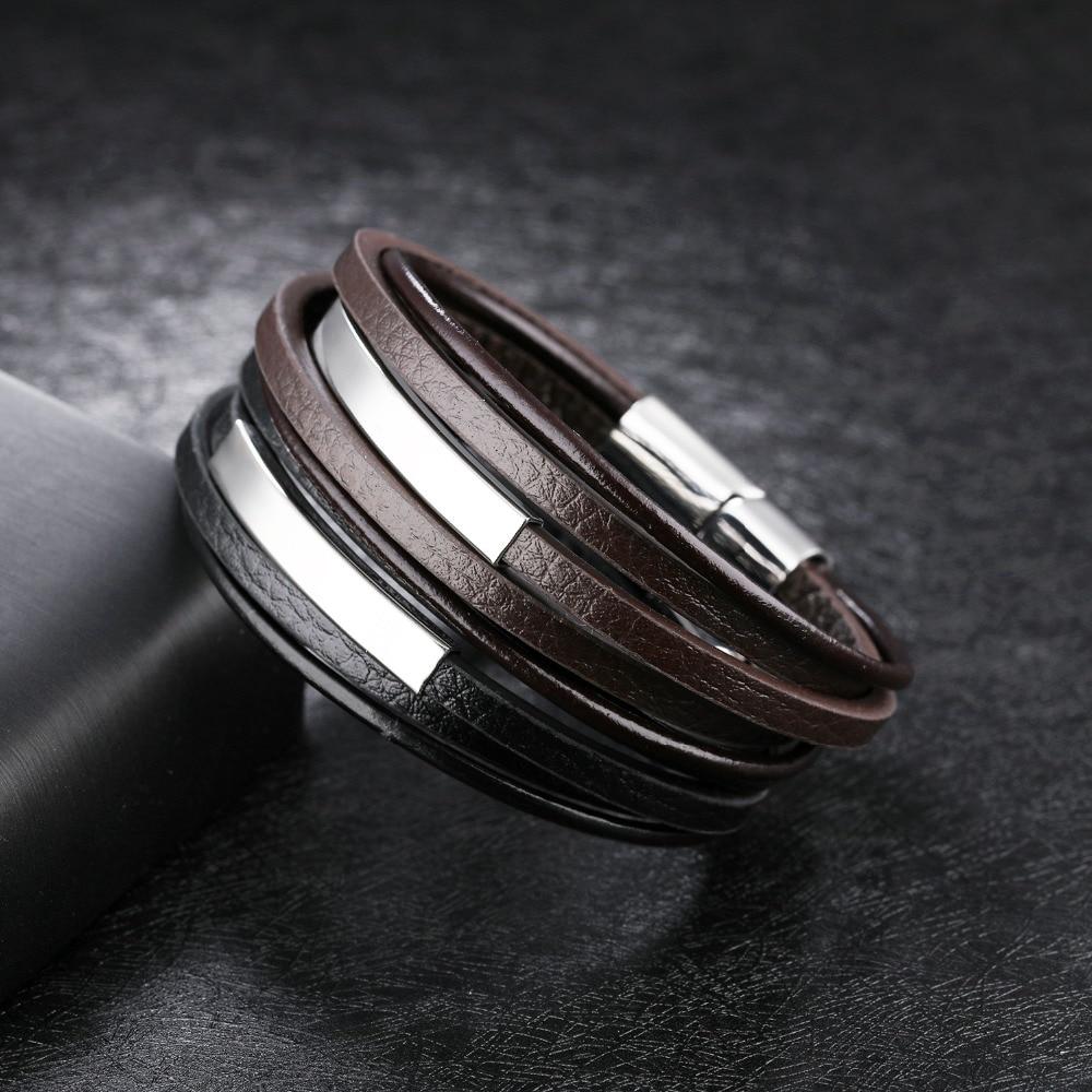 Купить модные ювелирные изделия из нержавеющей стали 2 цвета кожаный