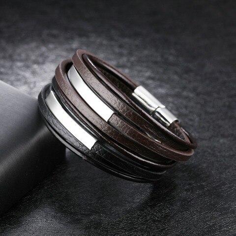 Модные ювелирные изделия из нержавеющей стали 2 цвета кожаный
