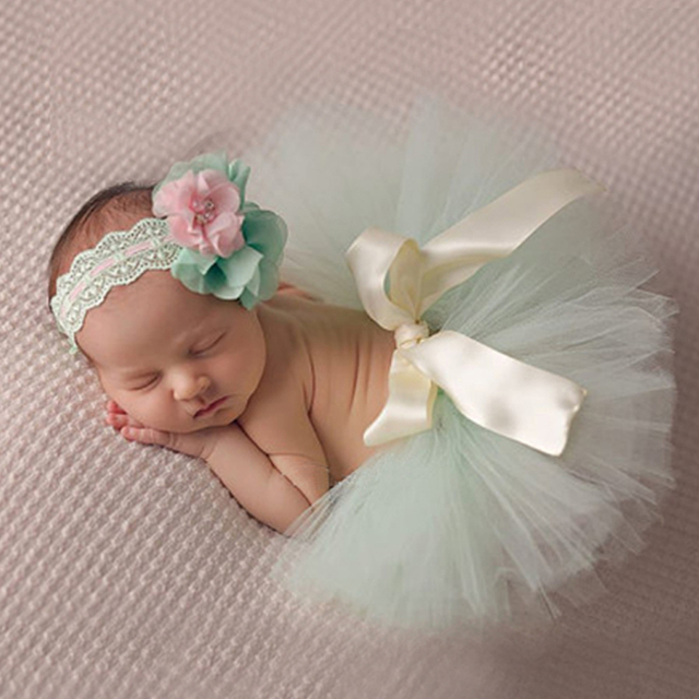 Fashion !! 2017 New Style Newborn Baby Girls Clothes Set Newborn Baby Photography Props Kids tutu For Girls Skirt And Headwear
