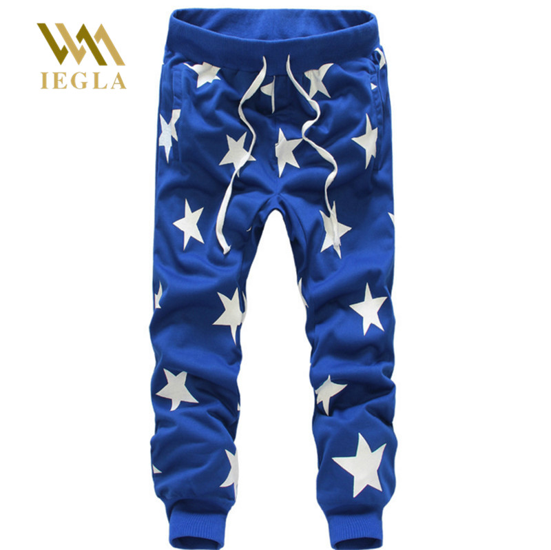 Male Trousers Harem-Pants Hiphop Joggers Loose Street Casual Star-Printing Dance Hots