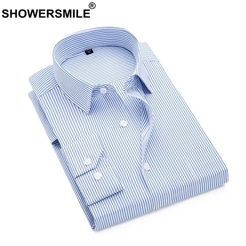 0f1d0e6b8d CHUVEIROS Camisas Dos Homens Camisa de Vestido Listrado Azul Slim Fit Manga  Comprida Camisas de Negócios Formais Masculino Outono Plus Size 3XL 4XL 5XL