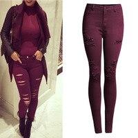 אופנה נשים טהורה בתוספת גודל גבוה מותן חור Ripped למתוח Slim עיפרון סקיני ג 'ינס כותנה נקבה ינס מכנסיים חותלות