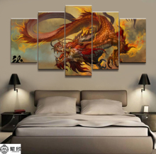 Home Decor Modular Canvas Picture 5 Piece Sky Flame Dragon God Painting Animal Art Wall For Wholesale