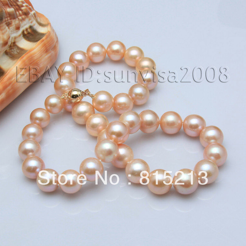 Ddh001765 12-14mm rose akoya d'eau douce perles collier 18