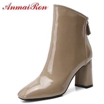 AnmaiRon  Basic  Pointed Toe  Shoes Woman Ankle Boots for Women  Fashion Shoes 2018 Women Shoes Size 34-39 LY286