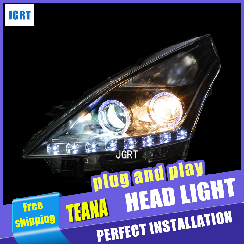 car styling For Nissan Teana headlight assembly angel eyes 2008-2012 For Teana bi xenon lens h7 with hid kit 2 pcs 1pc 2 5 hid xenon ultimate bi xenon projector lens parking car styling headlight diy lamp for h1bulb with shrouds h4 h7 socket