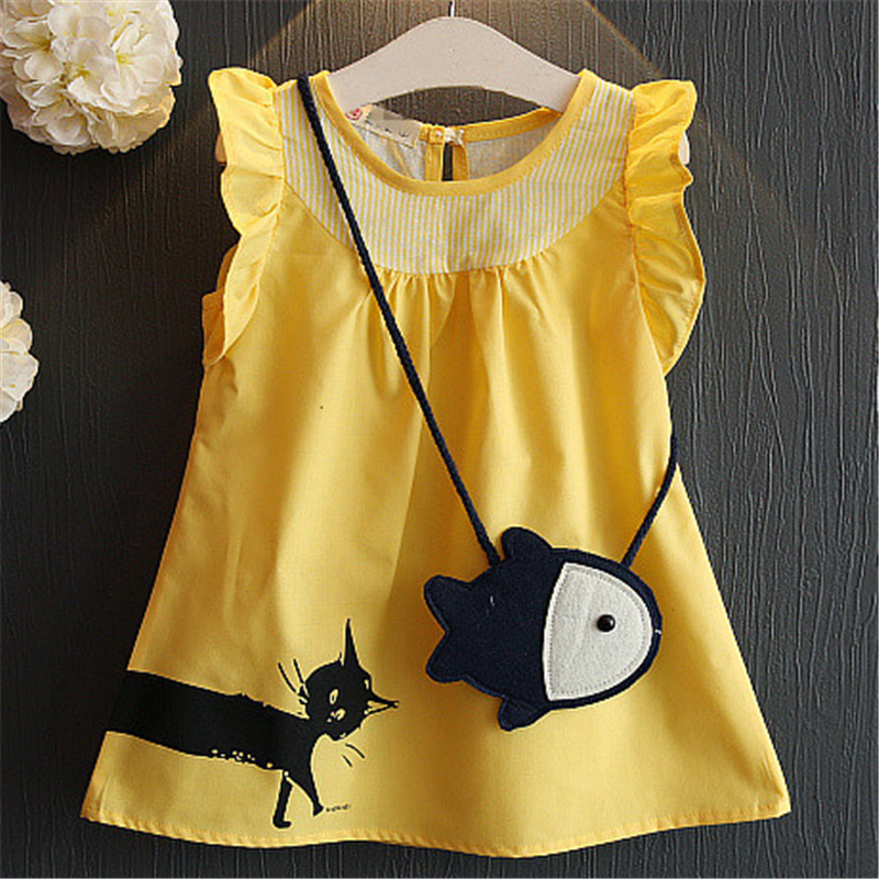 Baby Casual Dress Girls Print Sundress Cartoon Cat and Fish Cute Costume Children A-line Vest Dress Girl Yellow Cotton Clothes a cat a hat and a piece of string