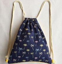 Men and Women Backpacks Casual Coconut Printing Canvas Drawstring Bag Fashion Travel Bag School Bag for Teenager Girls and Boys