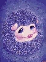 Mor Kirpi Bebek Sevimli Hayvan Resimleri için Oturma Odası Dekor duvar Boyama Üzerinde By Numbers By Numbers DIY Yağlıboya tuval