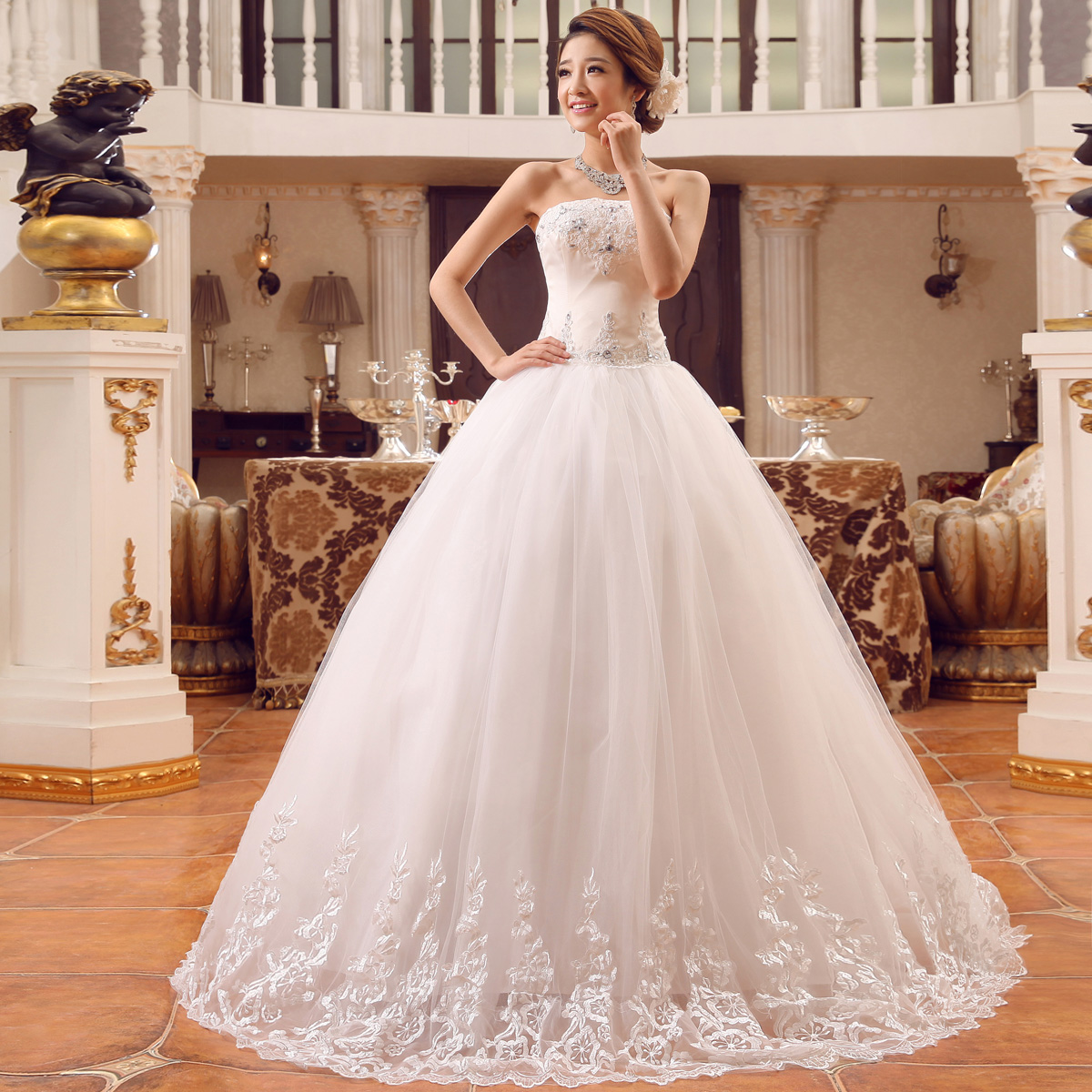 Luxury Embroidery Beading Wedding Dress White Fl Lace Bandage Gowns Strapless Off The Shoulder Bridal Trourok In Dresses From