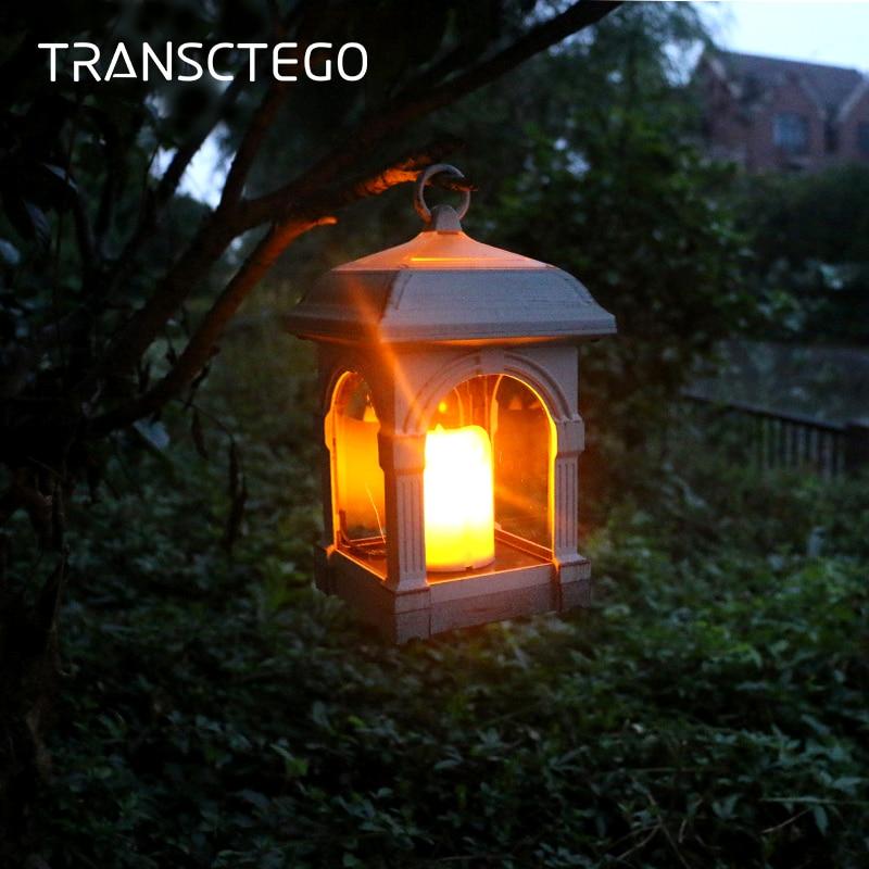LED Solar Light Candle Solar Lantern Light Sensor Outdoor Street Waterproof Hanging Lamp Patio Home Garden Decoration Solar Lamp
