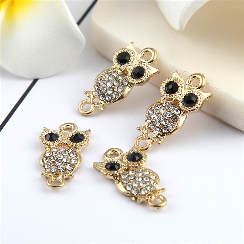 New Arraival Gold Color Drilling Black Eyes Owls Bead Connector Round Tree Rhinestones Fit DIY Bracelet