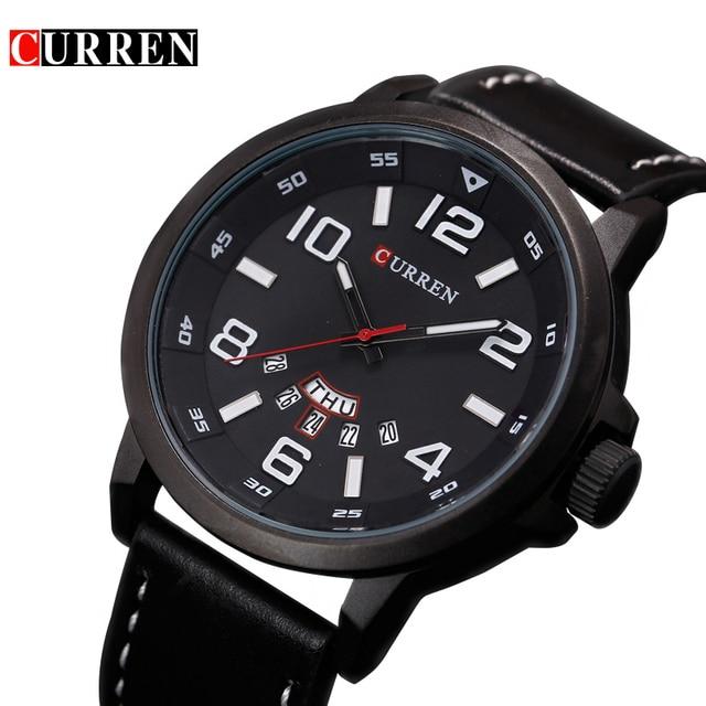 Curren 8240 люксовый бренд кварцевые часы Повседневное модные кожаные часы Reloj masculino мужские часы Спортивные часы
