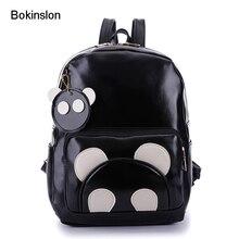 Bokinslon Для женщин Рюкзаки моды искусственная кожа Симпатичный мультфильм Рюкзаки леди Повседневное Колледж ветер школьная сумка для девочки