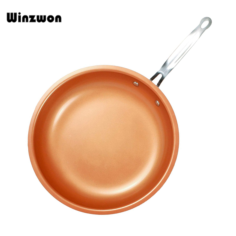 12inch Copper Chef Frying Pan Non Stick Pancake Pan Roasting Pan With Ceramic Coating Kitchen Cooking Induction Pot Cookware