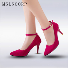 size 34-47 Fashion Sexy High Heels Shoes Women Dress Pumps Party Wedding Shoes Ankle strap Stiletto Sharp toe Shallow Zapatos цены онлайн