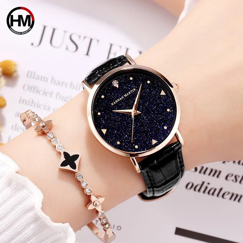 2018 NEW Japan Quartz Movement Fashion Luxury Star Dial Leather Women Watches La