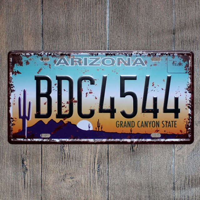 Car License Plate Style Metal Sign