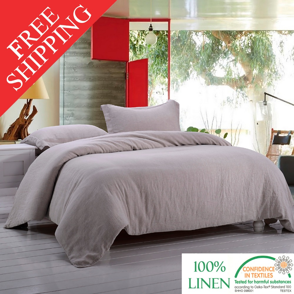 Stone Washed 100 Linen Bedding Set Incluidng 1 Duvet