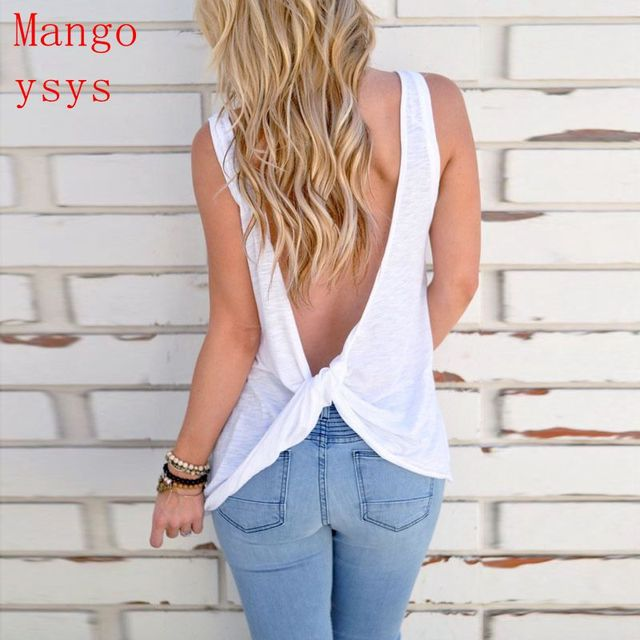 327bb0ea0873 mango ysys New Arrival Summer Women Sexy Sleeveless Backless Shirt Knotted Tank  Top Blouse cross Vest Tops Tshirt
