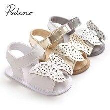 Новинка года; Брендовая обувь для новорожденных; обувь для малышей; обувь для маленьких мальчиков и девочек с мягкой подошвой; милые летние босоножки с бабочкой