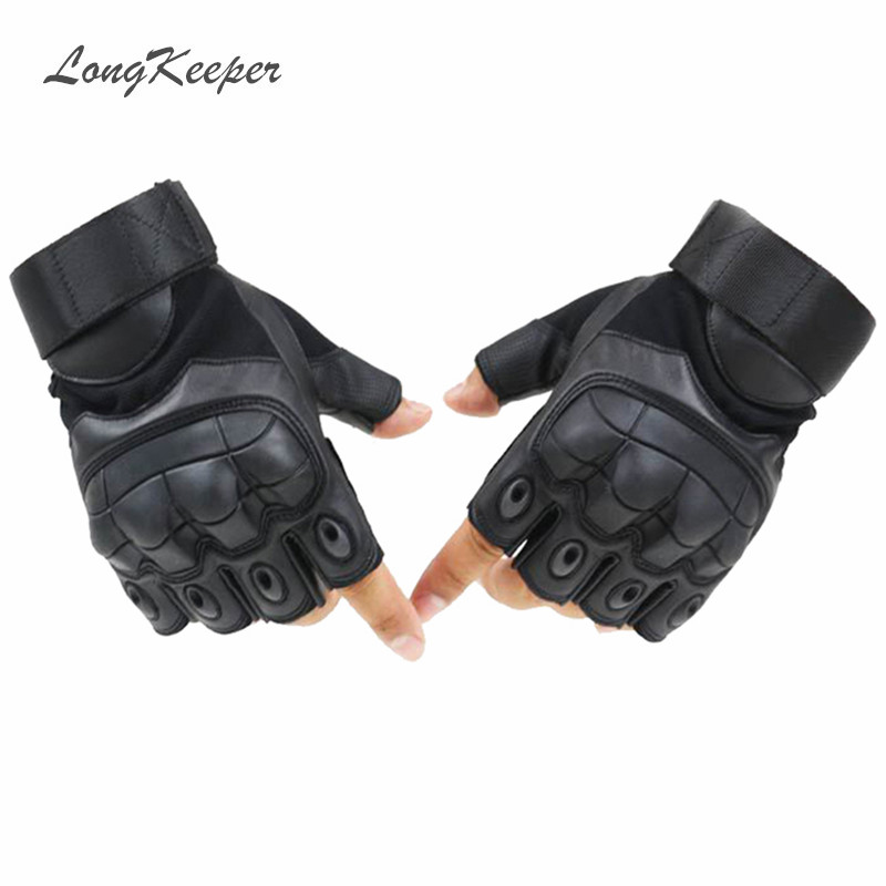 LongKeeper Luxury Quality Mens Leather Glove Fingerless Gym s