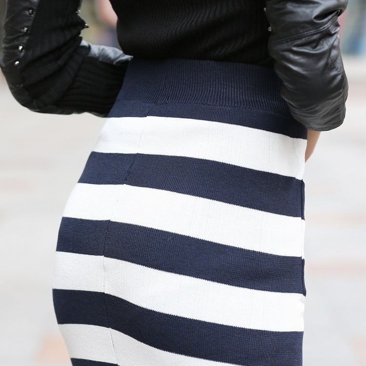 Extreem 2015 lente zomer lang potlood rok vrouwen blauw wit gestreepte  CH45