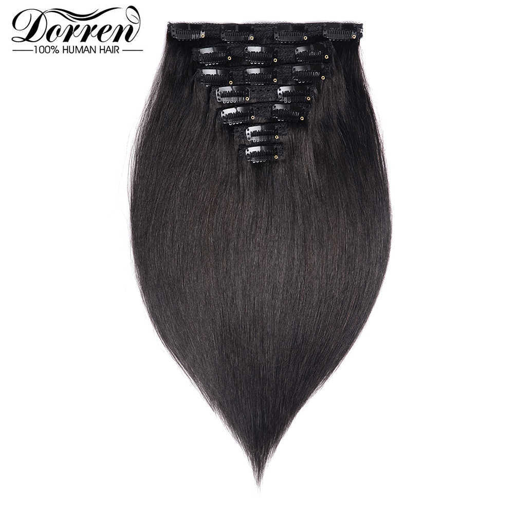 "Doreen 200G European Hair Machine Made Remy Straight Clip In Hair Extensions Human Hairpieces Dark Color Full Head Set 14""-22"""
