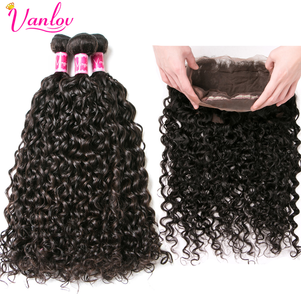 Hair Extensions & Wigs 3/4 Bundles With Closure Clever Vanlov 360 Lace Frontal With Bundles Malaysian Water Wave Human Hair Bundles With 360 Frontal Closure 4pcs/lot Remy Hair